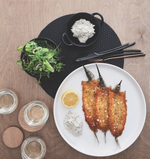 Recipe: Josh Niland's crumbed garfish with yoghurt tartare and herb salad