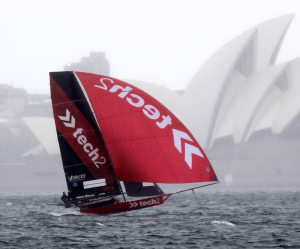 Only three 18 Footers make the start line in stormy Sydney Harbour conditions