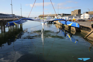 The trimaran MACIF exits the KEROMAN Technologies yard