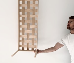 Making a woven wood bench