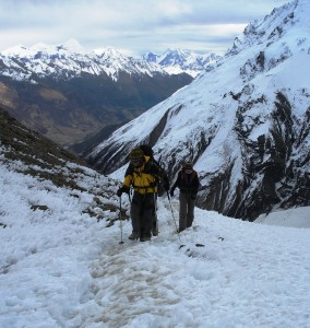 Tough trekking at 5000 metres