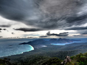 Dark and cloudy at the top of Mt Freycinet