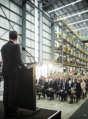 Defence Industry Minister Christopher Pyne addresses the workers and guests attending the opening of ASC West's new shipyard facility. Credit: ASC Defence