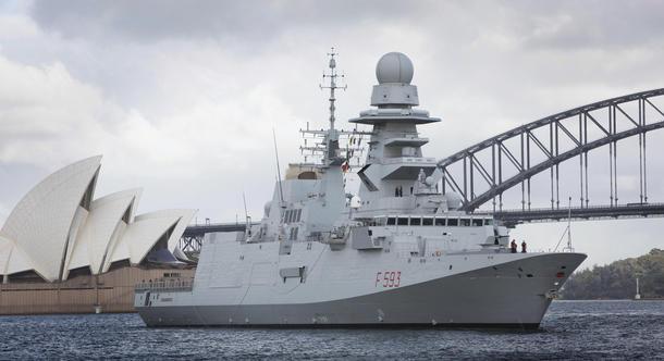 Italian FREMM frigate ITS Carabiniere in Sydney prior to going alongside at Fleet Base East, Garden Island. Credit: Defence