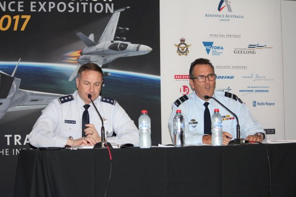 F-35 JPO executive director LTGEN Chris Bogdan and JSF Divison head AVM Leigh Gordon at the briefing held at Avalon Airshow. Credit: ADM (Patrick Durrant)