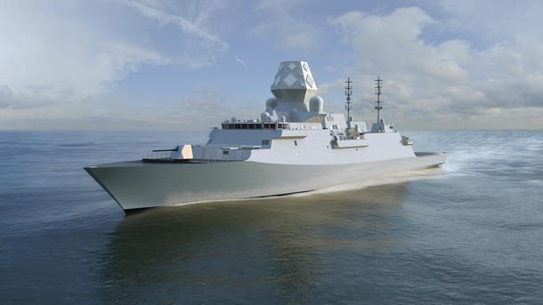 The BAE Systems Global Combat Ship (GCS) design based on the RN's Type 26 and with CEAFAR array. Credit: BAE Systems