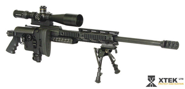 The XTEK Tac 2 .338/NATO 7.62 calibre sniper rifle. Credit: XTEK