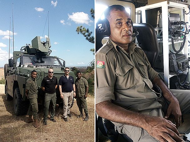The Barrett team with RFMF personnel and the RFMF Bushmaster. Credit: Barrett Communications