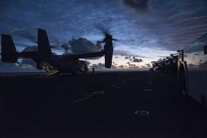 An MV-22B Osprey, assigned to the 'Dragons' of Marine Medium Tiltrotor Squadron (VMM) 265 (Reinforced), prepares to take off from the flight deck of the amphibious assault ship USS Bonhomme Richard (LHD 6) during Talisman Saber 17. Credit: USN Mass Communication Specialist Seaman Cosmo Walrath