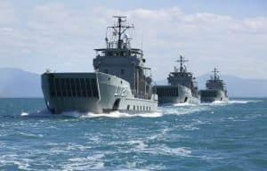 The Royal Australians Navy's three remaining Landing Craft Heavy (LCH) HMA Ships Brunei, Labuan and Tarakan depart Cairns Harbour in formation.