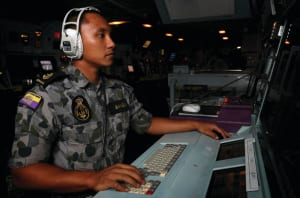 LSCSO Yohanes Bangun is in charge of establishing and maintaining Tactical Data Link (TDL) to all warships deployed in the Middle East Region (MER). Credit: Defence