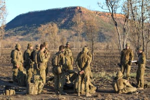 Australian Army soldiers from 2nd Battalion, Royal Australian Regiment, receiving orders for a platoon attack, during Exercise Talisman Sabre 2015, at Bradshaw Field Training Area, Northern Territory. Credit: Defence