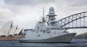 Italian FREMM frigate ITS Carabiniere in Sydney prior to going alongside at Fleet Base East, Garden Island. Credit: Defence