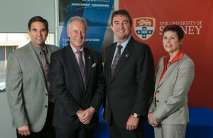 From left, Greg Chamitoff, Lawrence Hargrave Professor of Aeronautical Engineering; Archie Johnston, dean of the Faculty of Engineering and Information Technologies; Ian Irving, chief executive, Northrop Grumman Australia; and Mary Petryszyn, sector vice president and head of International, Northrop Grumman Aerospace Systems.