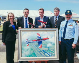 (L-R) Amy Gowder, Lockheed Martin; Darren Chester MP; Dan Tehan, Minister for Defence Personnel; Rob Oliver, Pilatus Australia; and Chief of Air Force Air Marshal Leo Davies. Credit: Lockheed Martin