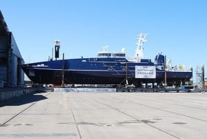 The future Cape Class patrol boat ADV Fourcroy has been rolled-out at Austal's Henderson shipyard. Credit: Austal