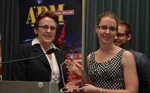 Jessica White from MEMKO Pty Ltd (an AIDN-Vic member) was announced as the national winner of the 2013 Australian Industry & Defence Network (AIDN) Young Achiever Award (YAA) at the ADM2013 Congress awards dinner in Canberra. [Photo:ADM David Jones]