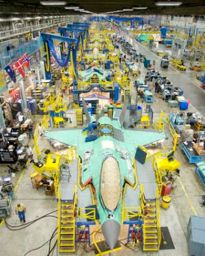 Lockheed Martin F-35 production line at Fort Worth in Texas. Both BAE Systems Australia and Northrop Grumman Australia are subcontractors on the F-35 program, providing in-roads to their respective supply chains. Credit: Lockheed Martin (Angel DelCueto)
