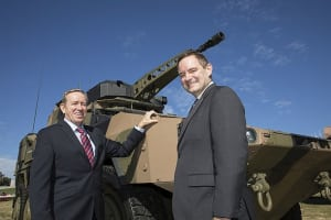 Greg Albert, CEO and MD Bisalloy Steels (L) and Gary Stewart – MD at RDA in front of Rheinmetall's Boxer CRV. Credit: RDA
