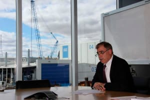 Mark Lamarre, CEO ASC Shipbuilding, announcing the company's involvement in the OPV tender, in the boardroom of ASC Shipbuilding, Osborne, SA, on 11th April.