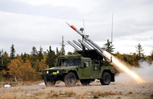 A Norwegian NASAMS. Defence and Raytheon are already investigating mounting missile launchers on Thales' Australian made Hawkei vehicle and using Canberra based CEA Technologies' radar. Credit: Raytheon