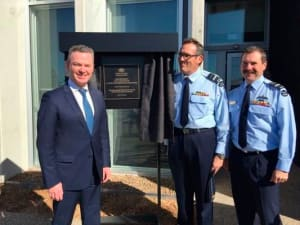 Minister Pyne opens the OBISC facility at RAAF Williamtown accompanied by head JSF Division AVM Leigh Gordon and CAF AIRMSHL Leo Davies. Credit: Defence_CASG via Twitter