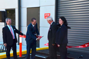 (L-R) L3 Micreo BDM Mark Pezaro, Andrew Wallace MP, L3's Greg Roberts and L3 Micreo GM Sarah Earey at the opening of the new facility. Credit: ADM David Jones