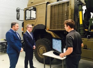 Minister for Defence Industry Christopher Pyne visits Supashock in Adelaide.