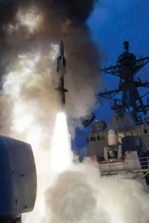 An SM-6 missile launched from USS John Paul Jones during testing last year.