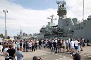 Family and friends farewell HMAS Anzac in Sydney on Sunday as the ship deploys for Anzac Day commemorations at Gallipoli.