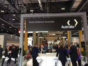 The TDA stand at DSEI showcasing the wares of 45 Australian businesses. Credit: @wagoEU via Twitter