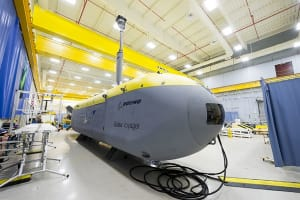 Echo Voyager, Boeing's latest unmanned, undersea vehicle (UUV), can operate autonomously for months at a time thanks to a hybrid rechargeable propulsion power system and modular payload bay. Credit: Boeing