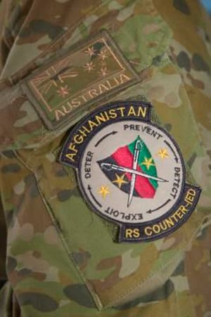 Unit patch worn by Australian Army officer Major Jason Perkins, Staff Officer, Strategic Plans and Operations Integration Counter-Improvised Explosive Device Directorate, Headquarters Resolute Support, Kabul, Afghanistan. Credit: Defence
