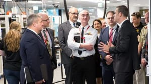 RADM Tony Dalton (Centre) at the official opening of the lab last week. Credit: BDA