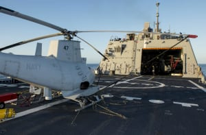An MQ-8B Fire Scout unmanned autonomous helicopter from the Magicians of Helicopter Maritime Strike Squadron (HSM) 35, Detachment 1, is prepared for flight operations aboard the littoral combat ship USS Fort Worth (LCS 3).