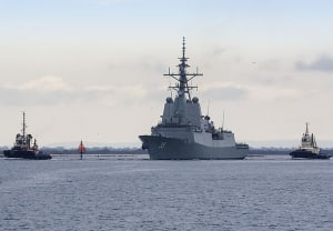 NUSHIP Hobart departs the ASC facility at Osborne for her builder sea trials. Credit: AWD Alliance