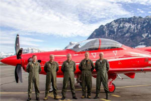 The first Australian pilots to undertake conversion training on the PC-21 as part of the Air 5428 new Pilot Training System Project, pictured at the Pilatus airfield at Stans, Switzerland. Credit: Defence