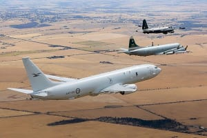 The RAAF's first P-8A Poseidon flew over Adelaide on Tuesday with a P-3C Orion and its maritime patrol predecessor, a Lockheed Neptune. A Catalina also flew in the demonstration, marking four generations of aircraft flown by Number 11 Squadron. Credit: Defence