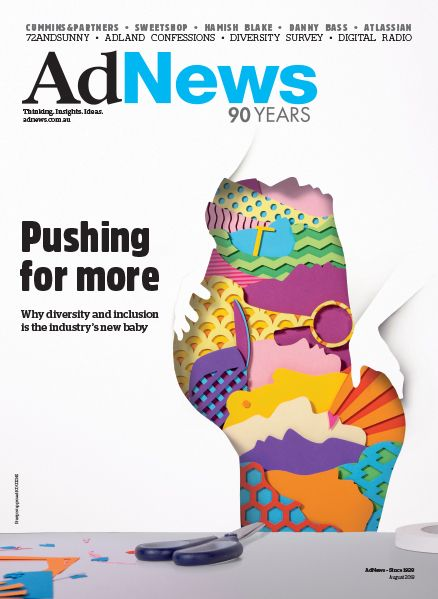 72andSunny design AdNews August 2018 front cover