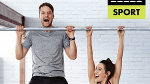 Hamish Blake and Zoe Blake-Foster bring it for Bonds Sport