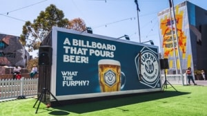 Furphy pours beers from a billboard in first major ad campaign