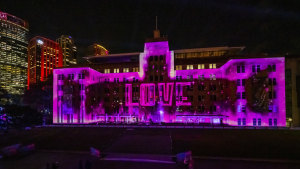 The MCA's façade has been transformed for Vivid Sydney