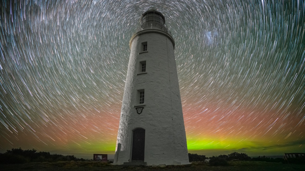 Cape Bruny Lighthouse,  Bruny Island. Milky Way  with Aurora. Photo by Jay Evans.