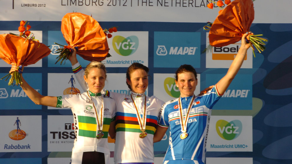 Rachel Neylan up there alongside the best in the world at the 2012 World Championship Road Race - Marianne Vos & Elisa Longo Borghini.
