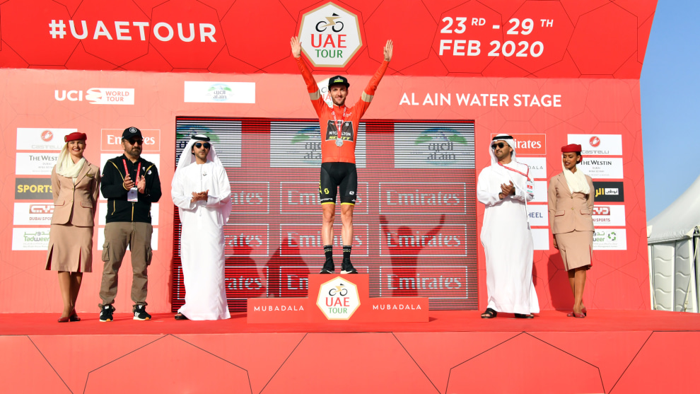 Adam Yates of Mitchelton Scott has been named winner of the 2020 UAE Tour after the race was cancelled with two stages to go. Image UAE TOUR.