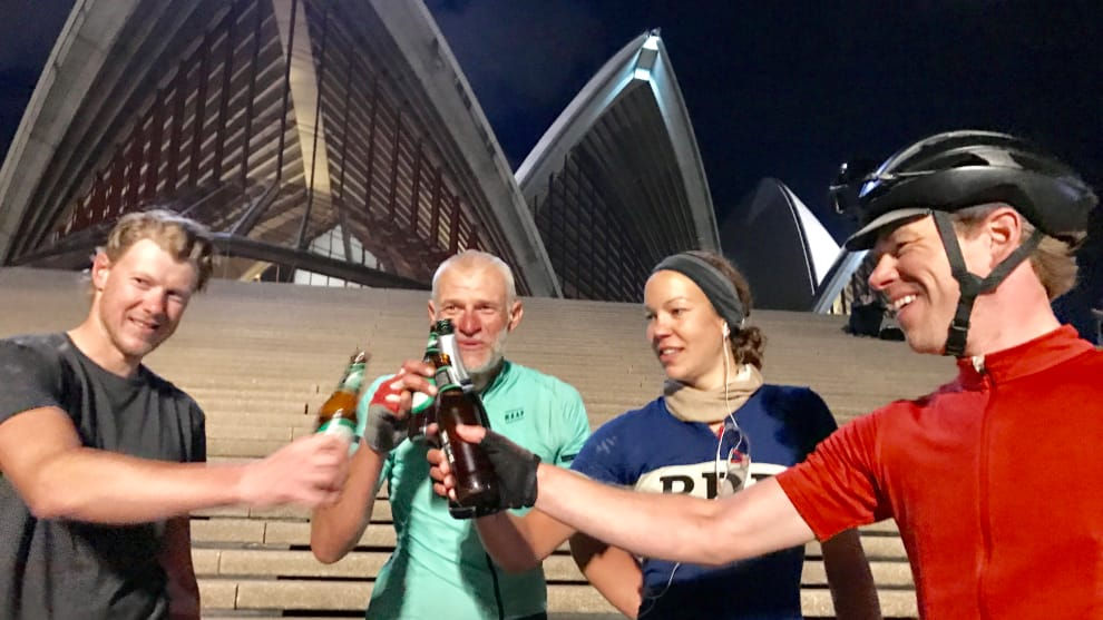 IPWR riders Kim Raeymaekers, Davin Harding, Juliana Buhring and Matthijs Ligt at the Sydney Opera House. Image: Nat Bromhead