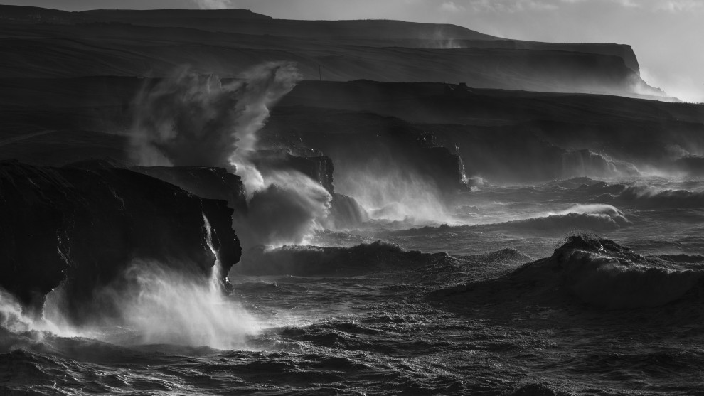 Andrew Kaineder, North Atlantic Power. A swell over 10m batters the coastline of Ireland.