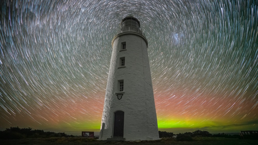 'Cape Bruny Lighthouse' - Bruny Island: Star trail with Aurora © Jay Evans