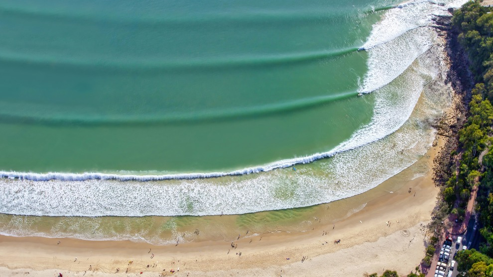 Paul Smith, Unfinished symphony. Taken at Noosa Heads, Queensland from a helicopter. The perfect lines remind me of the lines on sheet music, with the surfers being the notes.