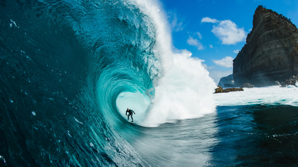 "Stu Gibson's winning shot of Mikey Brennan at Shipstern Bluff off the south-east coast of Tasmania. ""This day was a big-tow day,"" said Gibson. ""In the morning the light popped for about 20 minutes then it went back to cold and ugly 'shippies'."""